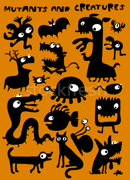 Funky Monster Geschöpfe Illustrationen Design Web Stock foto © radoma