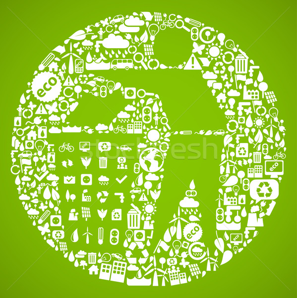 trash symbol made from little ecology icons - sustainable development concept Stock photo © radoma