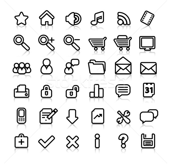 simple black and white web icons Stock photo © radoma