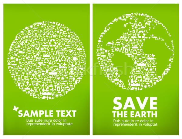 Globális ökológia földgömb kicsi ikonok háttér Stock fotó © radoma