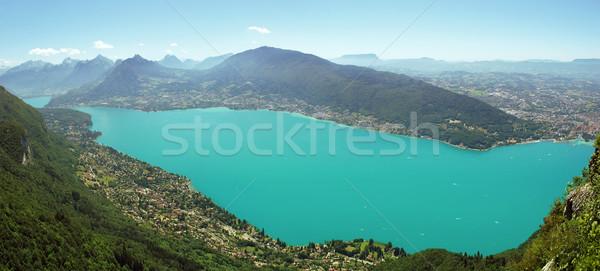 Gletsjer meer panorama bergen Frankrijk voorjaar Stockfoto © radoma