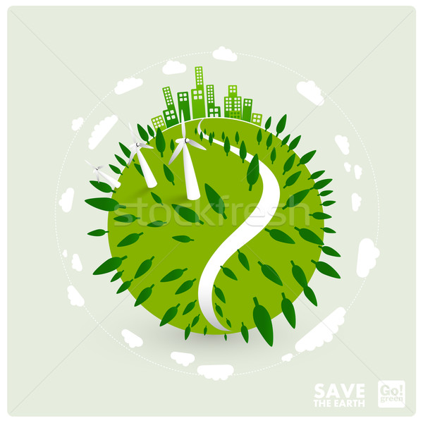 ecology illustration - green earth with wind turbines Stock photo © radoma