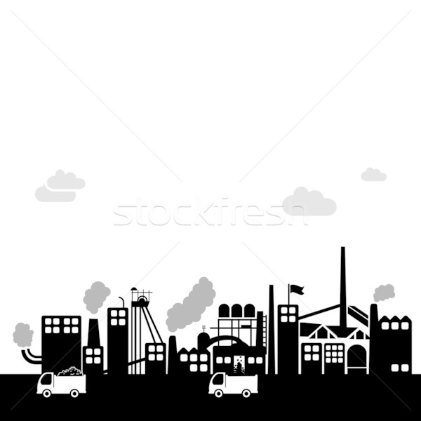 coal factory - industrial vector background Stock photo © radoma