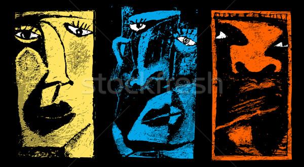 Három arcok stilizált festmény háttér művészet Stock fotó © radoma