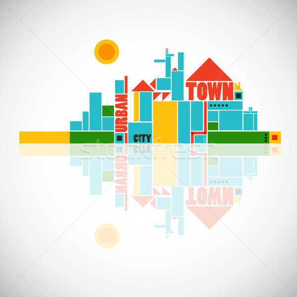 abstract town - geometric compositon Stock photo © radoma