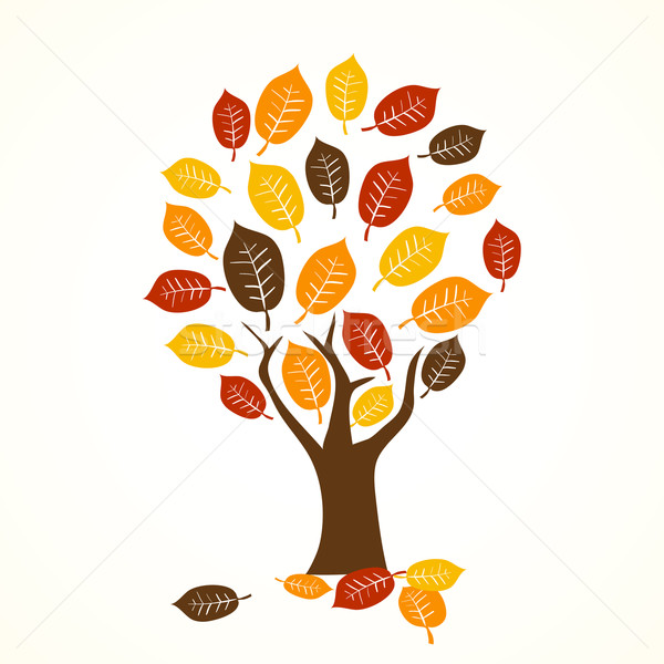 Stock photo: autumn tree - seasonal vector illustration