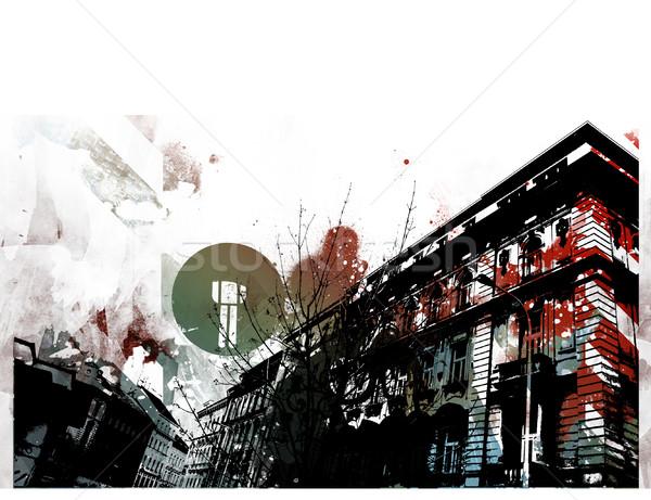 Grunge városi terv textúra város művészet Stock fotó © radoma