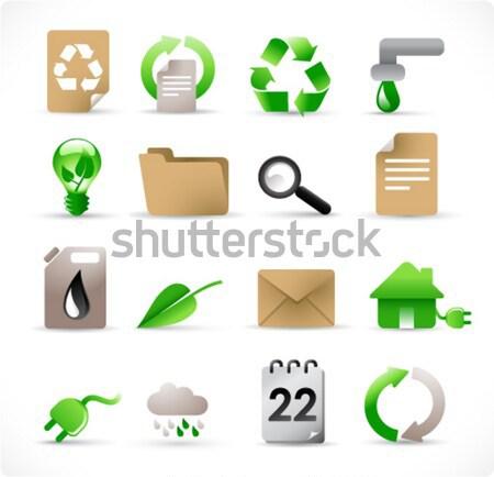 ökológia ikonok környezeti tavasz természet levél Stock fotó © radoma