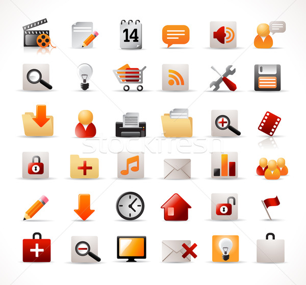 Web-Icons Set beliebt Business Bleistift Web Stock foto © radoma