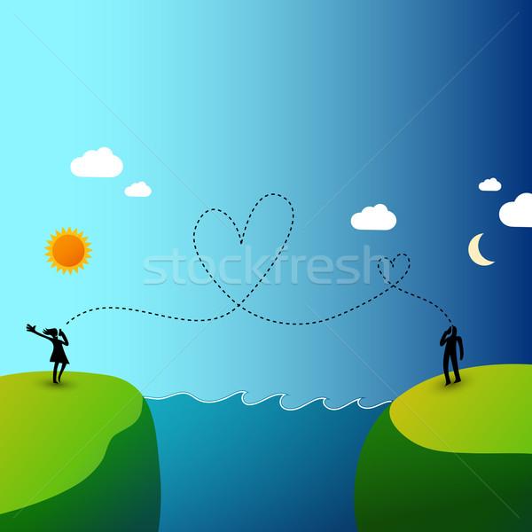 Iletişim uluslararası sevmek çağrı iki kişi farklı Stok fotoğraf © radoma