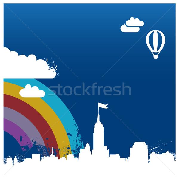 şehir örnek gökkuşağı soyut sokak binalar Stok fotoğraf © radoma