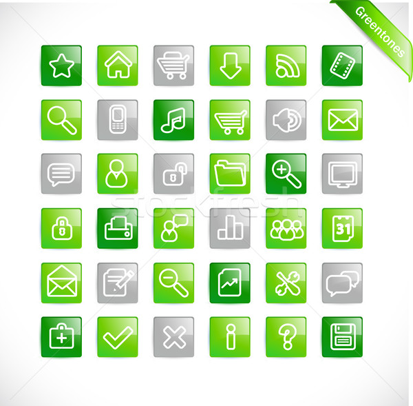 Stock photo: Greentones web icons