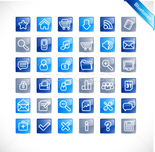 Web-Icons blau glänzend Business home Web Stock foto © radoma
