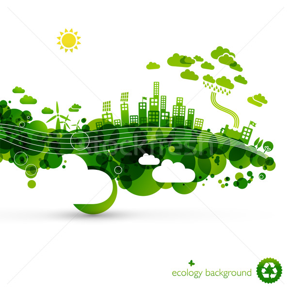 Groene eco stad abstract ecologie illustratie Stockfoto © radoma
