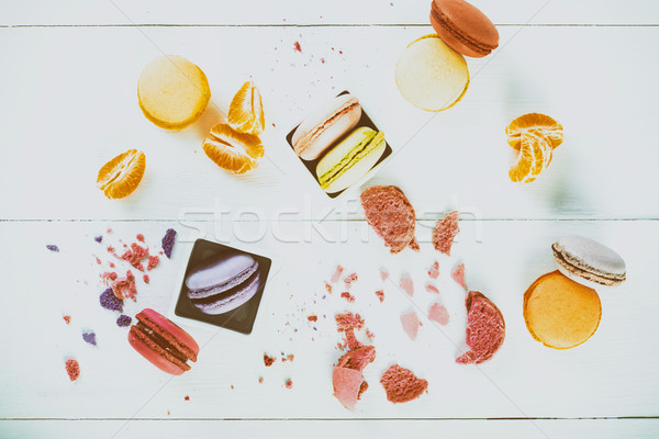 Francés mandarina rebanadas mesa de madera alimentos madera Foto stock © radub85