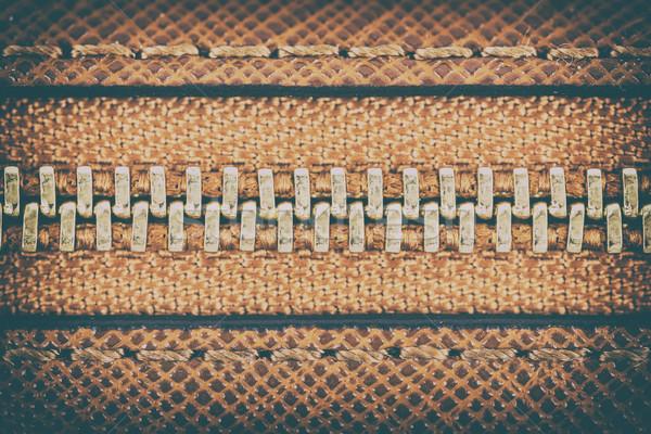 Zipper brun cuir portefeuille affaires Photo stock © radub85
