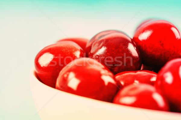Сток-фото: белый · чаши · свежие · красный · вишни · фрукты
