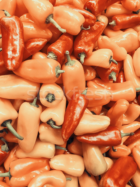 Red And Orange Capsicum In Vegetable Market Display Stock photo © radub85