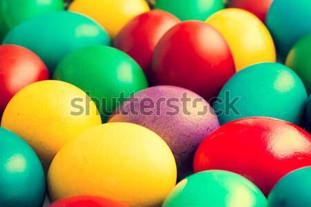 Coloré œufs de Pâques panier nature fond vert Photo stock © radub85