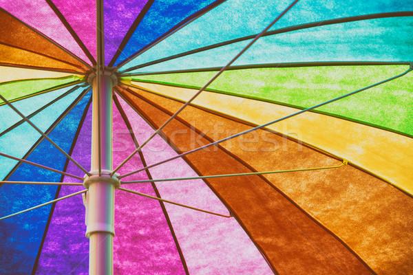 Stok fotoğraf: Gökkuşağı · renkli · şemsiye · soyut · plaj · doku