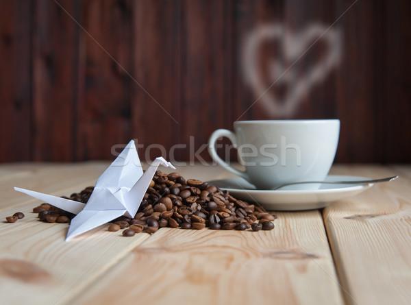 Kubek kawy Żuraw origami fotele papieru Zdjęcia stock © raduga21