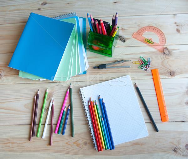 Vissza az iskolába köteg tanszerek üzlet iskola festék Stock fotó © raduga21