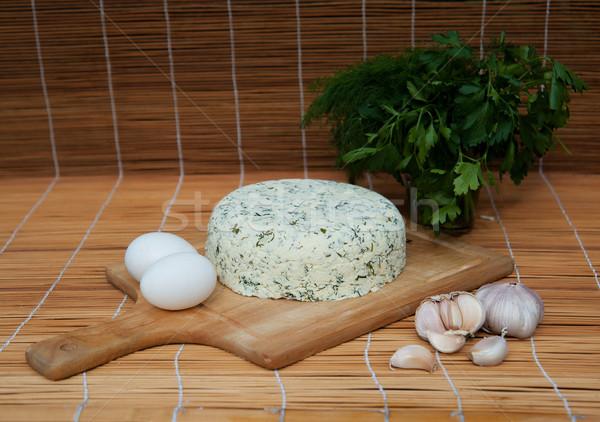 Kecskesajt házi készítésű tojások fokhagyma gyógynövények farm Stock fotó © raduga21