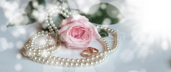 Wzrosła pierścień obrączki biały pereł charakter Zdjęcia stock © raduga21
