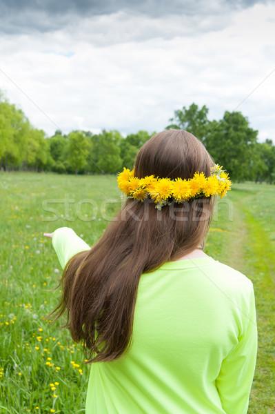 Meisje krans paardebloemen weide zomer gras Stockfoto © raduga21