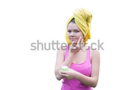 Pielęgnacja skóry młoda kobieta twarz ogród Zdjęcia stock © raduga21