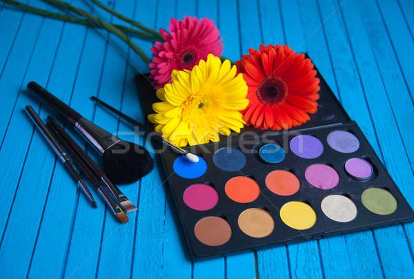Fard à paupières palette fleur bleu table mode Photo stock © raduga21