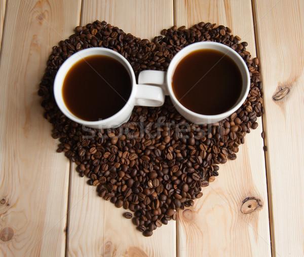 Kubek kawy Żuraw fotele tabeli Zdjęcia stock © raduga21