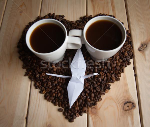 Kubek kawy Żuraw origami fotele żywności Zdjęcia stock © raduga21