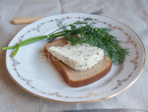 Ser kozi kawałek ser tablicy zielenina żywności Zdjęcia stock © raduga21