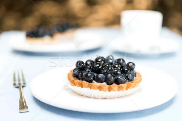 Blueberry Pie Tart on White Plate Stock photo © rafalstachura