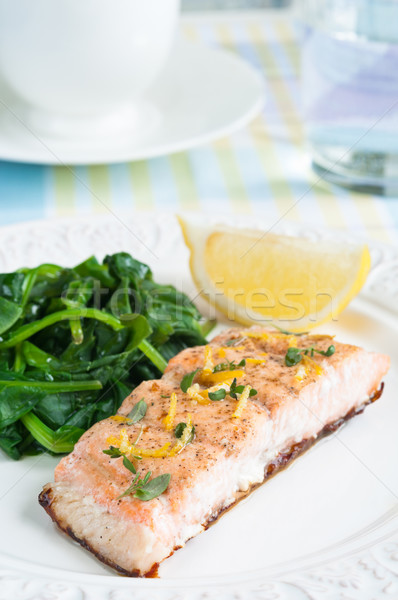 Salmon with Spinach Stock photo © rafalstachura