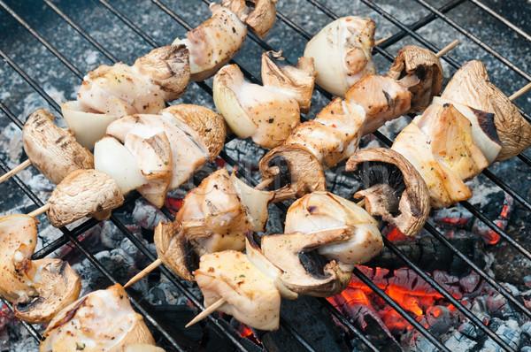 ストックフォト: 鶏 · キノコ · 古い · バーベキュー · ディナー · 肉