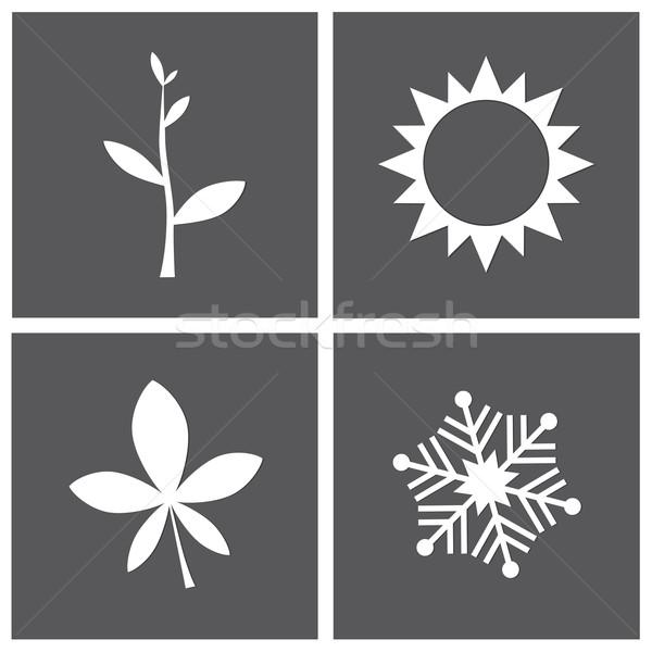 Vier seizoen iconen grijs voorjaar Stockfoto © rafalstachura