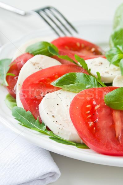 Caprese saláta sajt paradicsomok bazsalikom levél tányér Stock fotó © rafalstachura
