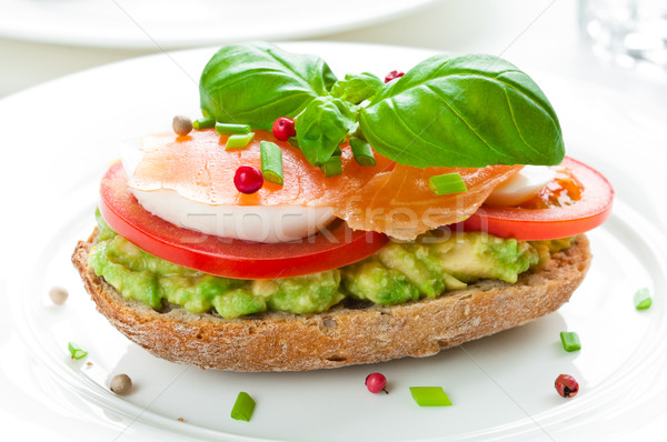 Sandwich with smoked salmon Stock photo © rafalstachura