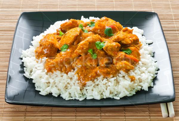 Caril de frango arroz lugar vermelho carne Foto stock © rafalstachura