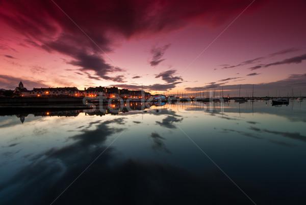 Coucher du soleil yacht république Irlande rouge bleu Photo stock © rafalstachura