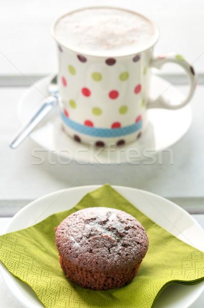 Csokoládé minitorta porcukor papír szalvéta születésnap Stock fotó © rafalstachura