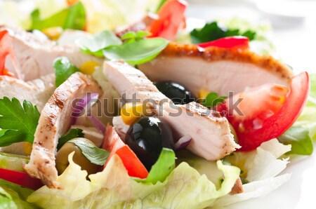 Salada de frango tomates alface azeitonas comida Foto stock © rafalstachura
