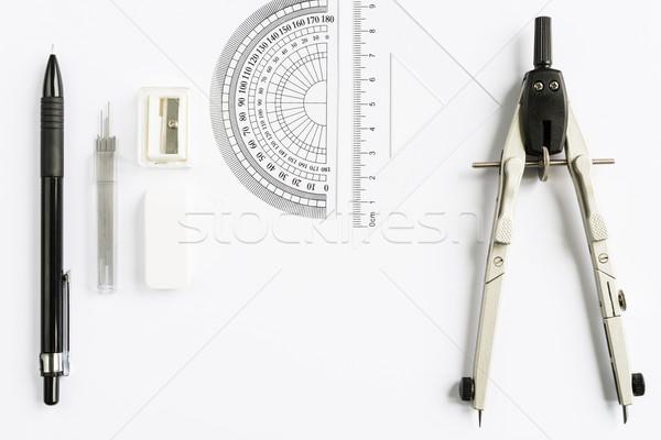 Escolas escritório artigos de papelaria conjunto ferramentas Foto stock © rafalstachura