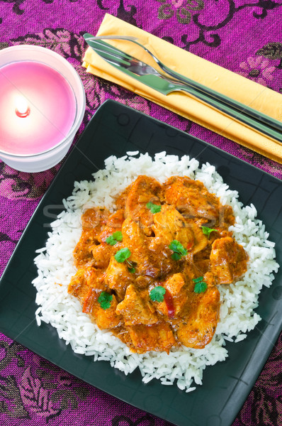 Caril de frango arroz preto prato vela carne Foto stock © rafalstachura