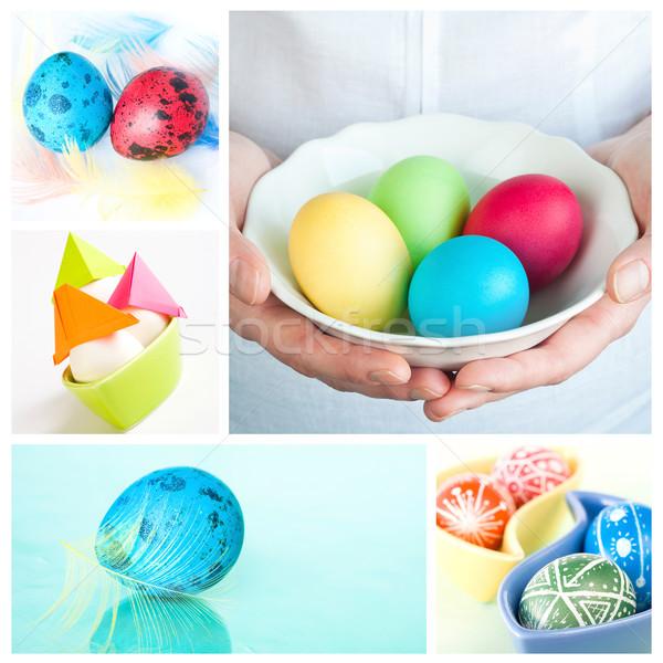 Stock fotó: Húsvét · kollázs · öt · képek · női · kezek