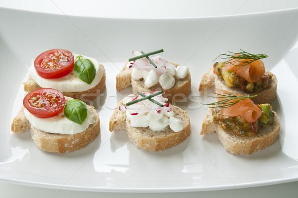 вегетарианский белый пластина зеленый хлеб Сток-фото © rafalstachura
