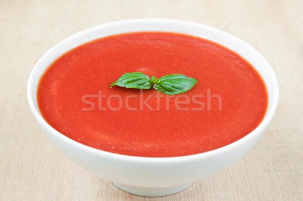 Zupa pomidorowa świeże bazylia puchar żywności liści Zdjęcia stock © rafalstachura