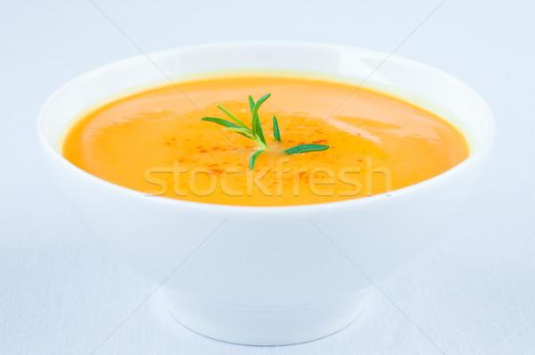 Soupe aux légumes fraîches citrouille soupe blanche bol Photo stock © rafalstachura